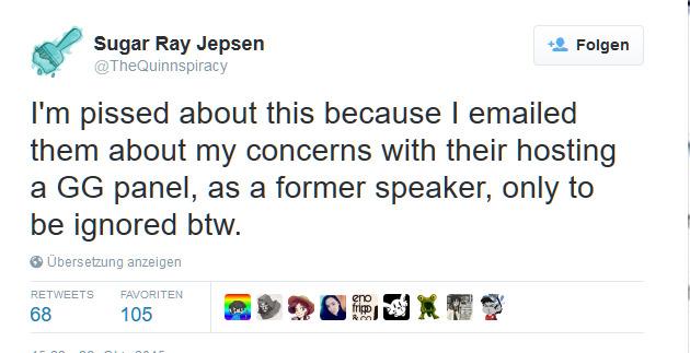 """""""Ich habe ihnen gemailt, wegen meiner Bedenken, dass sie ein GamerGate-Panel hosten"""""""