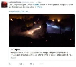 Tweet Calais Feuer